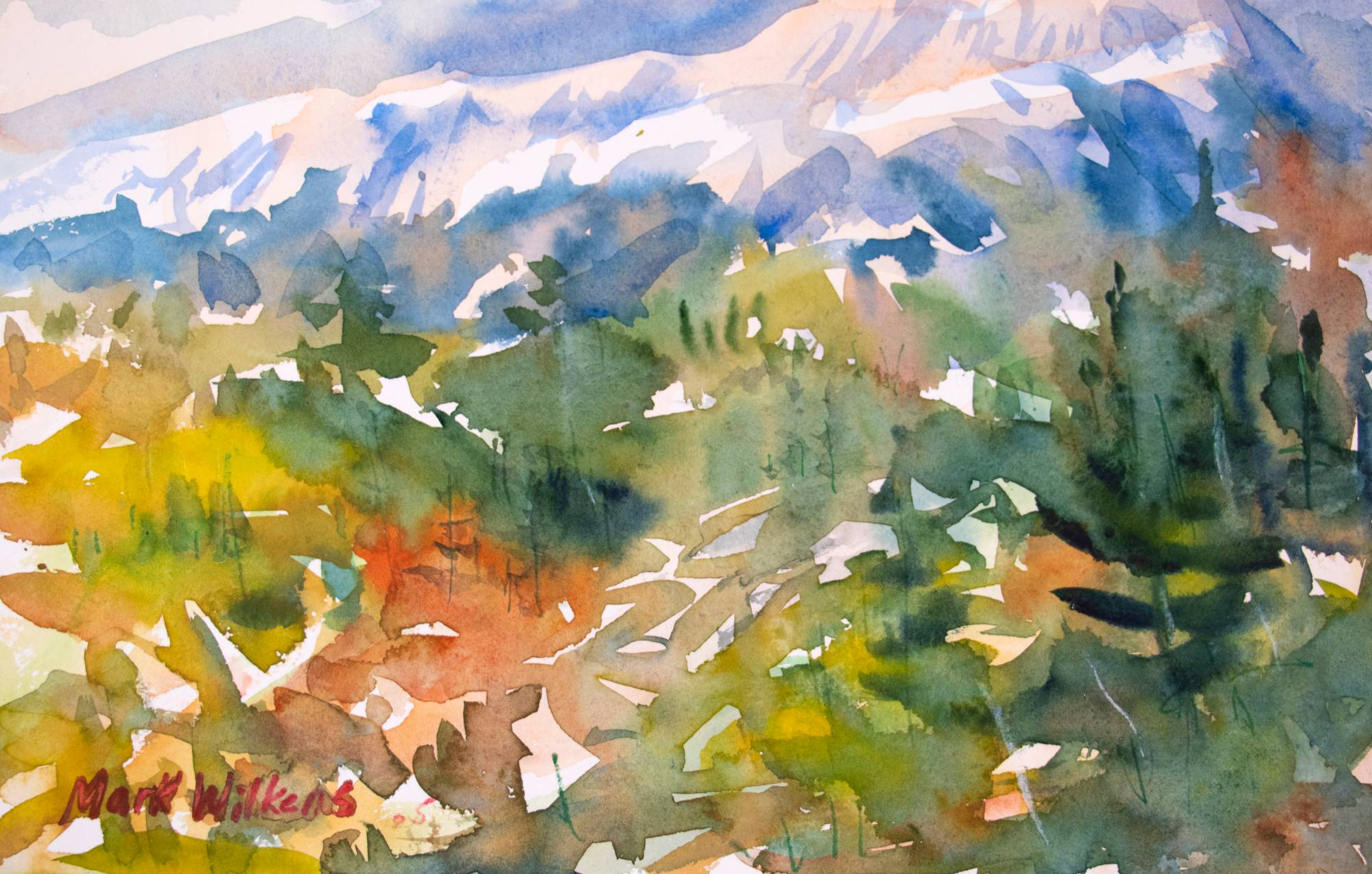 Watercolor art piece of mountains and trees nature scene.